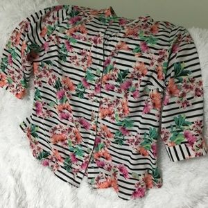 Floral Striped Pastel Blouse 3/4 Sleeves 1X